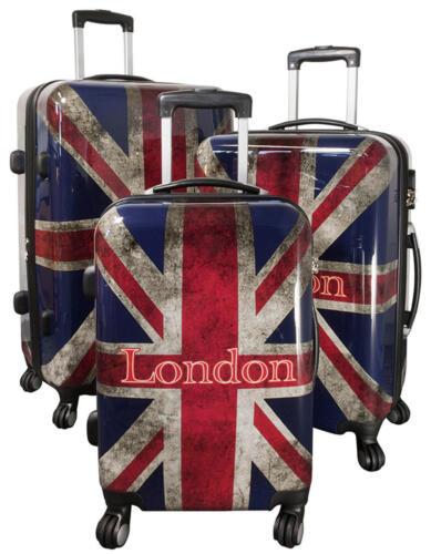 Polycarbonate Coque rigide valise trolley individuellement SET Bagages à main PM uk london