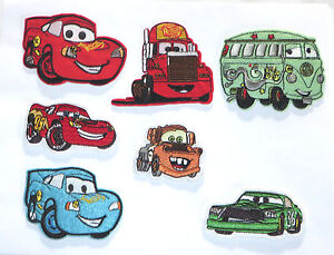 Disney//Pixar CARS Embroidered Iron On//Sewn On patch set of 7 Fantastic Set!