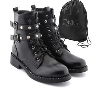 nouvelle collection a409a 2d587 Détails sur Bottes femme TWIG T279 bottines chaussures clouté noir