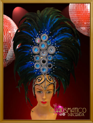 Tall Blue feather showgirl/'s headdress accented with beads and gemstones