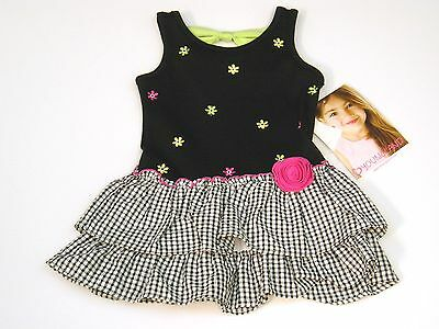Youngland Summer Dress Girls Sz 2T Drop Waist Tiered Skirt Black White Pink NWT