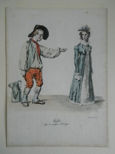 Lito Colores S.XIX Langlume Traje De Perlet en El Comediante de Etampes 1822