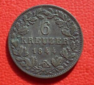 6-Kreuzer-Wurttemberg-1844-Wilhelm-I-Old-German-States