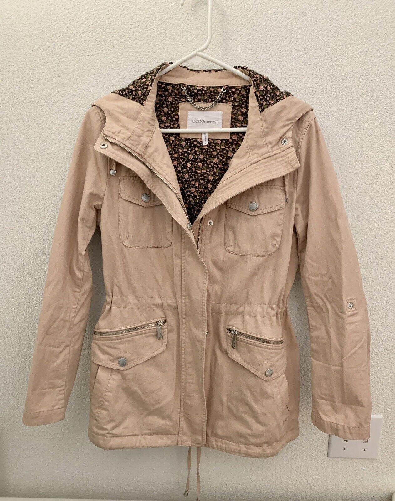 BCBGeneration Womens Medium M Blush Pink Brown Floral Utility Anorak Jacket Coat