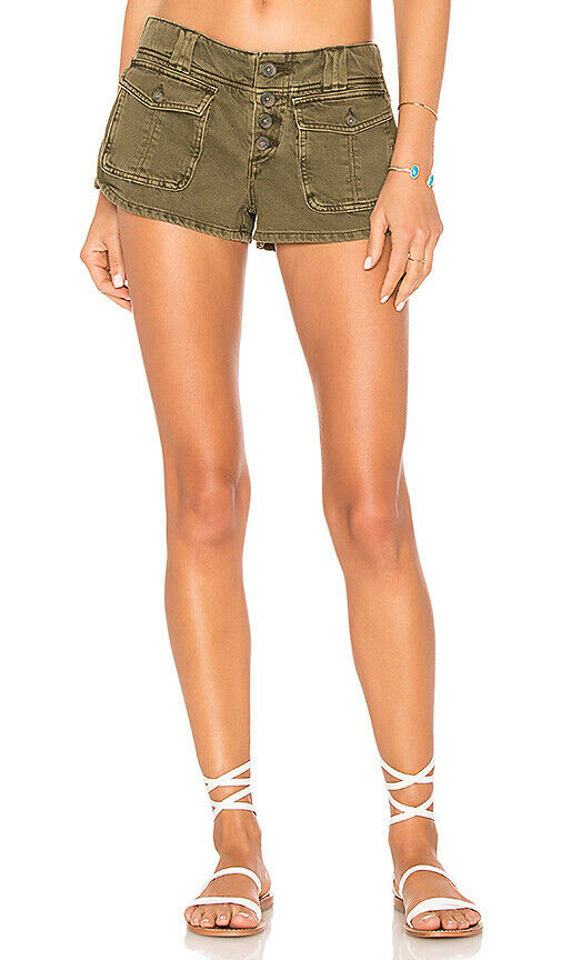 Free People Womens Cora Button Front OB776362 Shorts Slim Army Green Size 26W