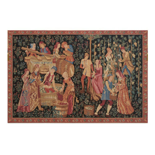 Wine Press Medieval Tapestry Wall Hanging Woven Art Harvest Small Large Black