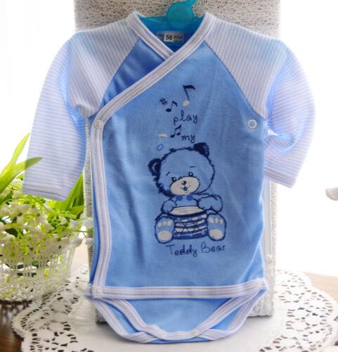 Bodys SET 2er Pack Body LA Wickelbody Babybodys 50 56 62 68 Weiß Blau NEU