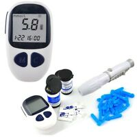 Electronic Blood Glucose Meter Monitor Complete Kit 50 Free Test Strip Home Care