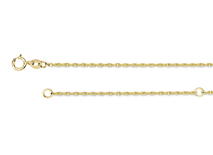 """Réglable corde pendentif chaîne 14K or Jaune 16 To 18/"""" Longueur 1.1 mm léger"""