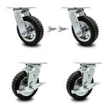 6 Inch Black Pneumatic Wheel Caster Set 4 Swivel With Swivel Locks 2 With Brakes