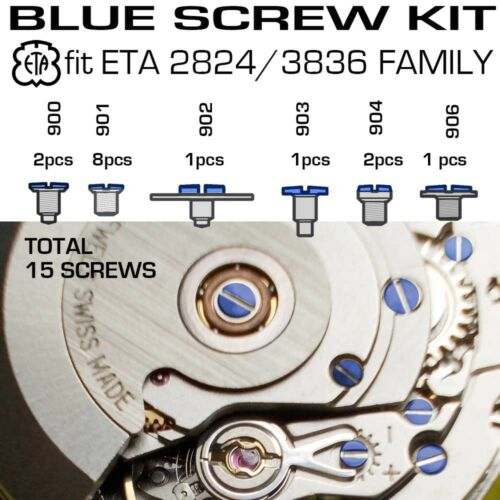 BLUE SCREW KIT FIT ORIGNIAL ETA 2824-2 2836-2 FAMILY MOVEMENTS
