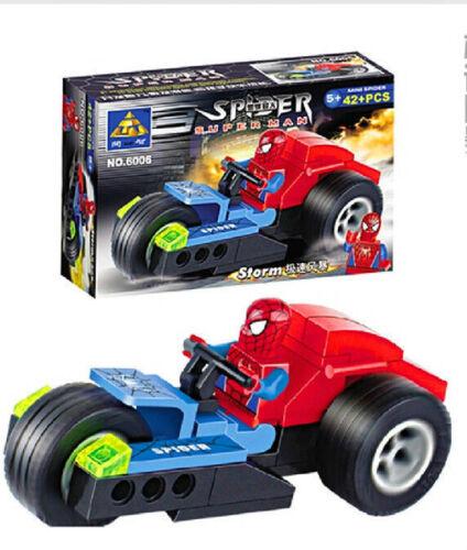 Bricks educational toys Speed Storm Racing spider super man 6006