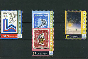 Grenada 2006 MNH Winter Olympics Torino 4v St Skiing Ice Hockey Stamps on Stamps