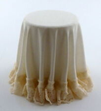 Dolls House Round Skirted Table with Cream Tablecloth Miniature 1:12 Furniture