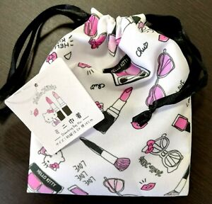 New-SANRIO-Hello-Kitty-Drawstring-mini-Bag-Pouch-White-gift-present-Cosmetic