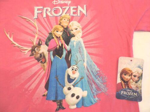Disney Frozen Girl/'s Tee T Shirt Top  Anna Elsa Olaf Pink  Sz XS