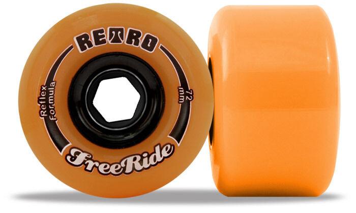 Retro Freerides - 72mm 86a orange Longboard Wheels Slidewheels
