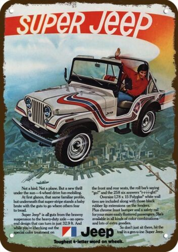 1973 SUPER JEEP 4X4 *NOT A BIRD OR PLANE* Vintage Look REPLICA METAL SIGN