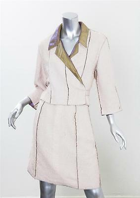 CHANEL BOUTIQUE 99P Womens Cream Inside-Out Cropped Jacket Skirt Suit 38/6