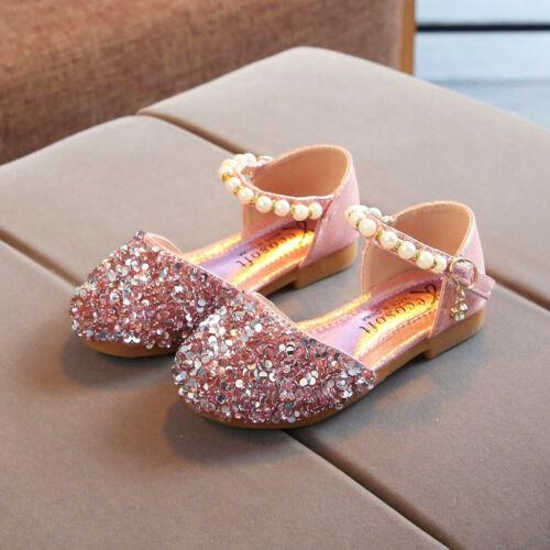 Toddler Infant Kid Baby Girl Pearl Bling Sequins Single Princess Shoe Sandals US