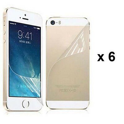 12 Pcs = 6 x (Front+Back) Clear Screen Protector Film  For Apple iPhone 5 5G 5S