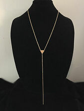 Geometric Lariat Y Necklace Long Minimalist Chain Golden Brass Drop Pendant