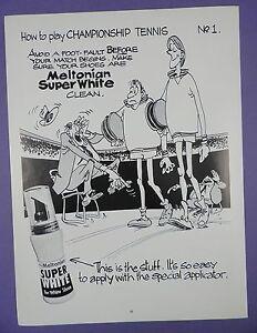 Super Blanco Para Zapatos-cómo jugar campeonato de tenis, 1980s página Mag anuncio