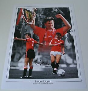 Bryan-Robson-Signed-Autograph-16x12-photo-Montage-Manchester-United-PROOF-amp-COA