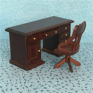 1:12 Dollhouse Miniature Furniture Study Room Wooden Desk Drawer Can Open ~