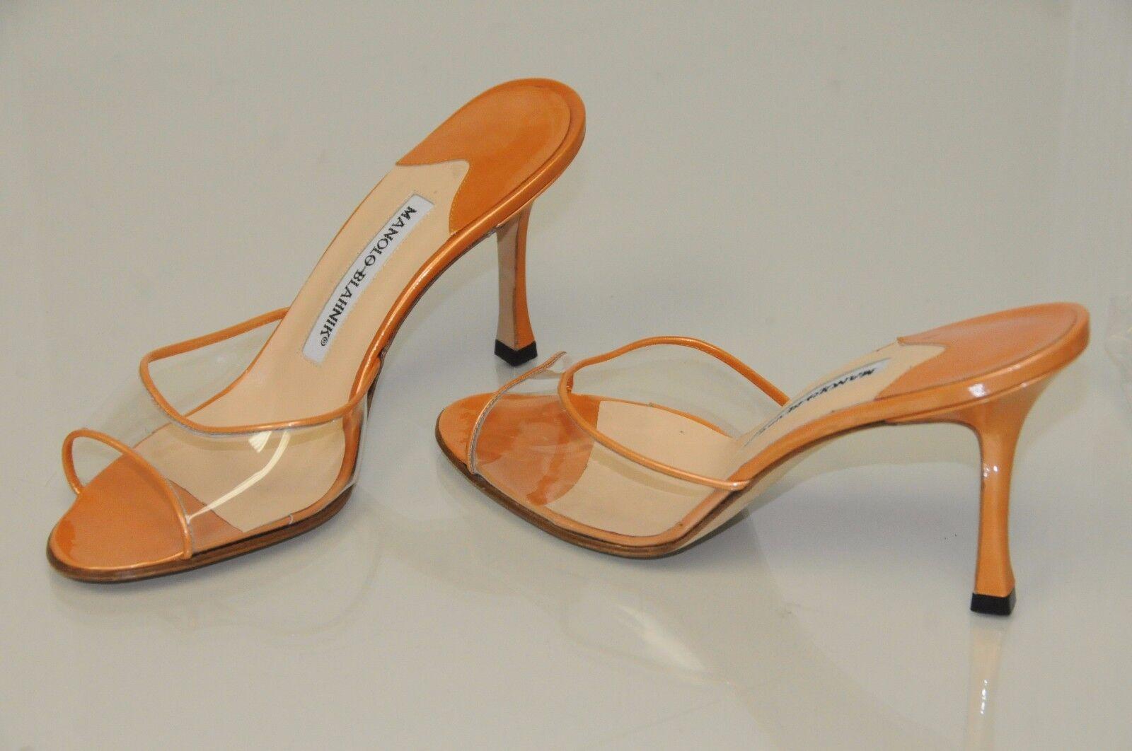 grande sconto  715 New MANOLO BLAHNIK arancia arancia arancia METALLIC ASTUTA Slide SANDALS HEELS scarpe 36  design unico