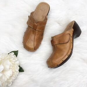 Nurture-Womens-Sz-8-M-Clogs-Heels-Mules-Tan-Brown-Leather-Slip-On-Shoes-Studded
