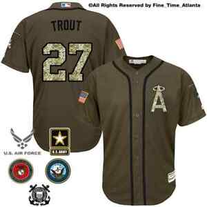 online retailer 366e1 819a2 Details about NEW Mike Trout Los Angeles Angels Men's Salute to Service O.D  Green /Camo Jersey