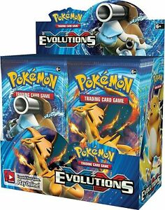 10-XY-EVOLUTIONS-Booster-Pack-Lot-Factory-Sealed-From-Box-Pokemon-Cards