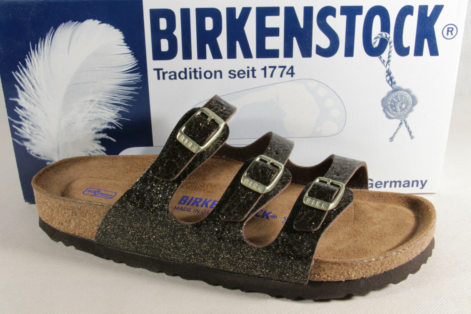 Birkenstock Ladies Mules Black/Gold Mules Black/Gold Mules 1006601 New afb93a
