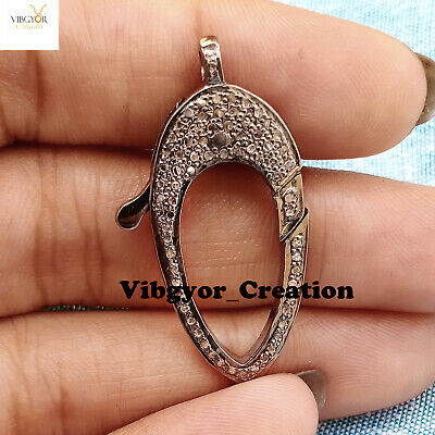Natural Pave Diamond Pendant Round Pendant 952 Sterling Silver Pendant Jewelry Making /& Finding Jewelry