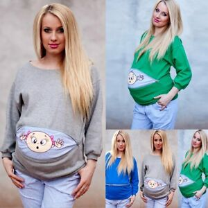 959e209a159e1 Pregnant Womens Long Sleeve Tops Cute Baby Peeking Out Maternity T ...