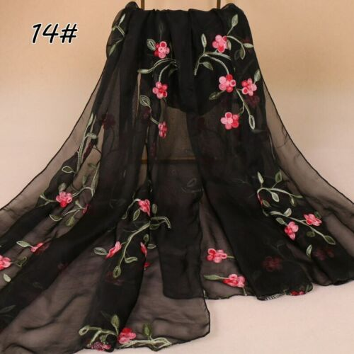 Women Female Floral Embroidered Scarf Muslim Hijab Head Wraps Shawls Scarves New