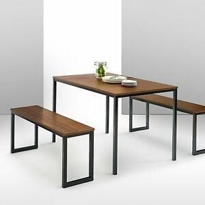 Enjoyable Details About Dining Room Furniture Set 3Pc Steel Frame Wood Grain Table Top Kitchen Bench New Uwap Interior Chair Design Uwaporg