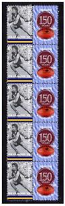WAFL-150-YEARS-OF-FOOTBALL-STRIP-OF-10-MINT-VIGNETTE-STAMPS-CLAREMONT-FC