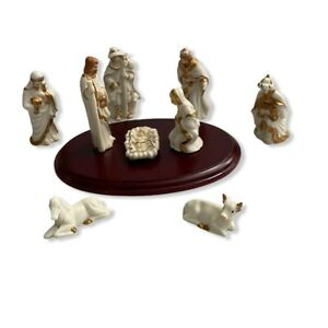 Vintage-White-Porcelain-Gold-Gilded-Nativity-Set-10-Pieces-4-034-Tall-Rosewood