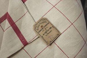 Vintage-hand-towel-kitchen-cloth-tea-twill-weave-c1920-red-stripe-LARGE-27x34
