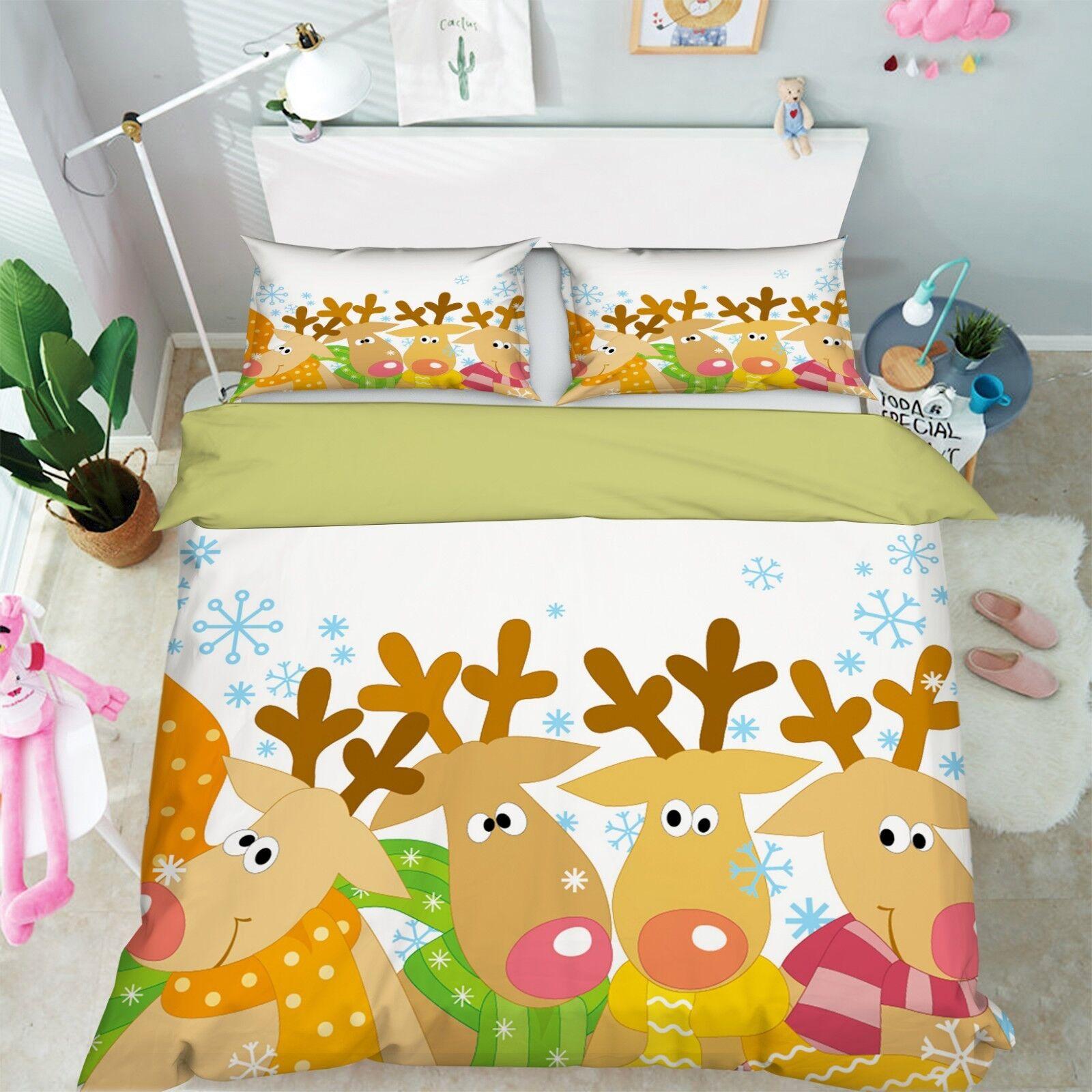 3D Christmas Xmas Deer 63 Bed Pillowcases Quilt Duvet Cover Set Single King UK