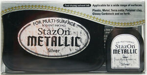 STAZON-Solvent-Ink-Pad-Refill-METALLIC-SILVER-Archival