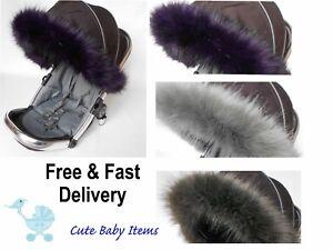 Pram-fur-hood-trim-pushchair-universal-fit-Icandy-hood-Universal-fit-fur
