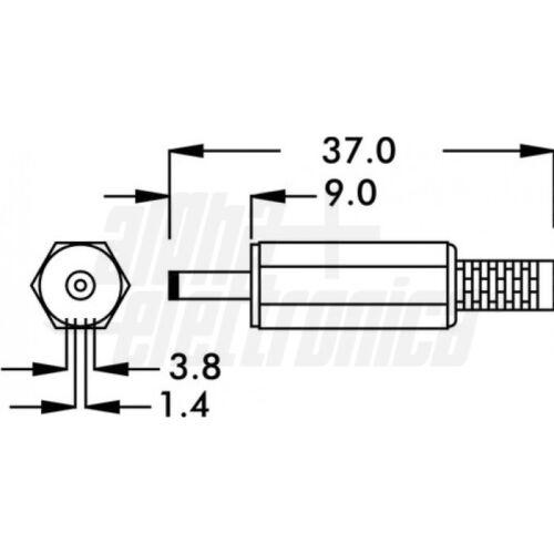 CONNETTORE SPINA ALIMENTAZIONE DC 3,8x1,3x9,0mm VOLANTE 13094