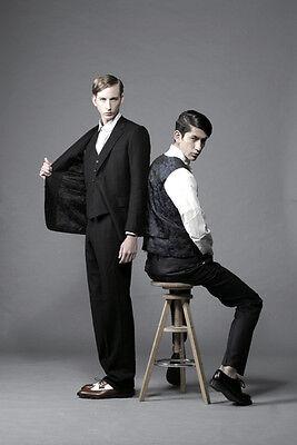 Mr.Bathing Ape 3-Piece Black Suit Slim fit 1st Camo lining Wool Cashmere New 48