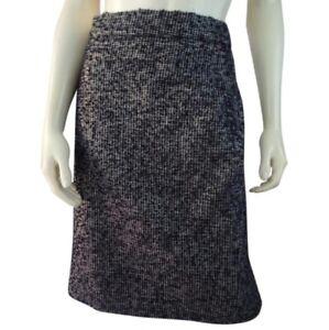 J-Crew-Skirt-12-Black-Gray-Metallic-Acrylic-Wool-Silk-Blend-Fuzzy-Slub-Yarn
