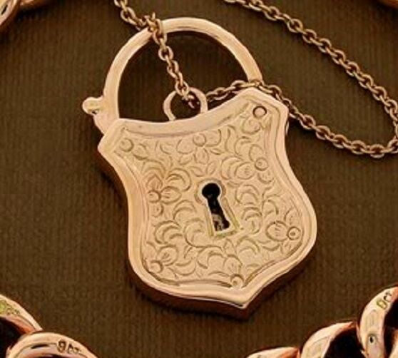 Large 9ct Rose GOLD Shield PADLOCK Clasp with Keyhole Heavy Etched Pendant