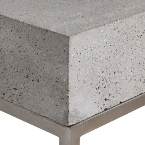 URBAN DECOR STAINLESS STEEL ACCENT PEDESTAL DISPLAY TABLE THICK CONCRETE TOP