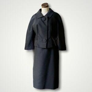 CARI COLETTE Vintage Couture 1960s Black Skirt Suit CHIC M/L